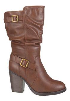 wren wide calf heeled boot in brown - maurices.com