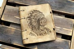 Vintage Apache Indian Leather notebook / sketchbook by wandrstore