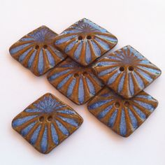 Blue Burst on Brown Stoneware Buttons by carolmilich on Etsy, $18.00