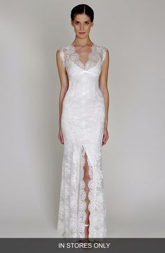 BLISS Monique Lhuillier Chantilly Lace Open Back Wedding Dress (In Stores Only)