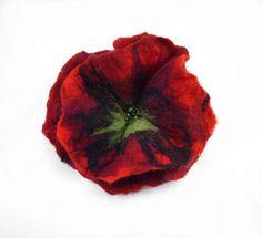 Felted Brooch felt poppy nuno nunofelt silk flower folk boho red burgundy ruby wool victorian fairy