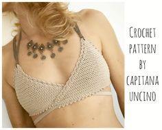 PDF-file for Crochet PATTERN, Aliyah Crochet Bikini Top Sizes XS-L by CapitanaUncino on Etsy