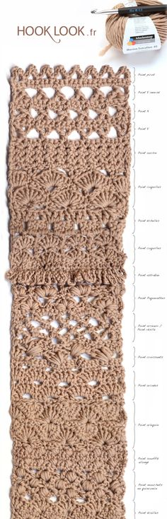Echarpe de 40 points fantaisie au crochet - HOOKLOOK. Méli-mélo d'idées en laine et au crochet. Crochet Granny, Crochet Stitches, Crochet Patterns, Blanket Crochet, Yarn Bombing, Knitting Yarn, Creations, Crafts, Scrappy Quilts