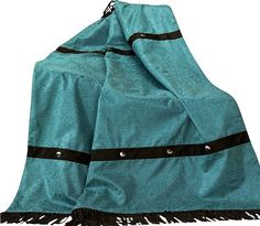 Turquoise Throw Blanket - Western Throw Blanket w/ Fringe