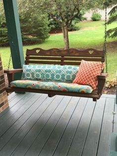 44 Amazing Rustic Porch Swing Design Ideas - Porch swings are a fabulous edition to any home and any porch. Porch swings are a wonderful way to kick back and relax at any time, especially after a. Porch Swing Cushions, Swing Seat, Pergola Swing, Pergola Patio, Porch Swings, Swing Chairs, Pergola Plans, Pergola Ideas, Pergola Cover