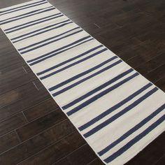 Handmade Flat Weave Stripe Pattern Ivory Wool Rug (2'6 x 8')   Overstock.com Shopping - Great Deals on JRCPL Runner Rugs