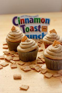 Cinnamon Toast Crunch Cupcakes. Brings back memories of breakfast as a kid.