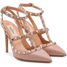 Valentino Leather Rockstud Pumps found on Polyvore featuring shoes, pumps, heels, beige, heels & pumps, valentino shoes, beige pumps, genuine leather shoes and valentino pumps