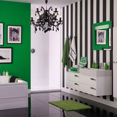 Sharp monochrome with Emerald green. designed by Sophie Robinson. Www.sophierobinson.co.uk  (I like these colors for a bathroom)