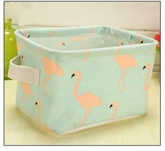 Storage/ Decor - Cute Linen rectangle storage basket No.3 (S-8.2)