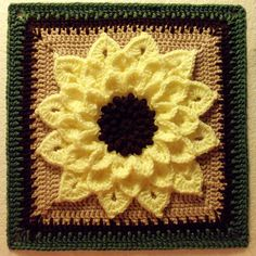 FREE PATTERN ~ KEEP ~  @ http://www.ravelry.com/patterns/library/the-crocodile-flower ~ Sunflower afghan block by Joyce Lewis