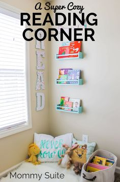 I love this cute little reading corner. What a great way to encourage kids to read!
