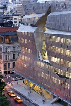 The new academic building for the Cooper Union for the Advancement of Science and Art is called 41 Cooper Square, and is designed by Morphosis Architects. Beautiful Architecture, Contemporary Architecture, Art And Architecture, Architecture Details, Installation Architecture, Unique Buildings, Interesting Buildings, Amazing Buildings, Morphosis Architects