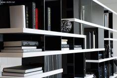 Charlotte libreria bifacciale laccata bianco nero det