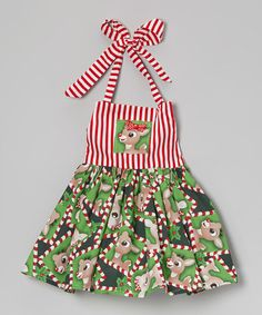 Green Rudolph Halter Dress - Infant, Toddler & Girls by Heavenly Things for Angels on Earth
