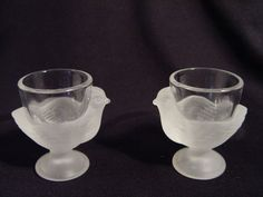 Set of 2 Vintage Luminarc Frosted Glass Hen Egg Cups Made in France | eBay 15.99