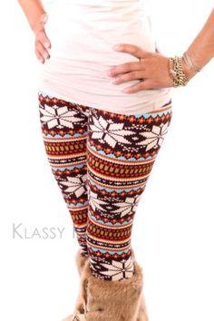 Winter Tribal Nordic Cute Reindeer Aztec Brown Pants Tight Legging Skinny +VIDEO
