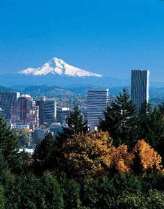 Portland, Oregon, with Mount Hood in the background