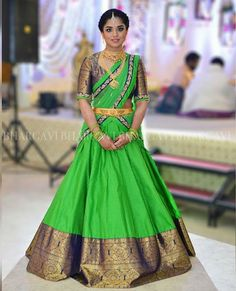 Labels South Indian Brides Are Loving For Their Mehendi! Labels South Indian Brides Are Loving For Their Mehendi! Lehenga Saree Design, Half Saree Lehenga, Lehnga Dress, Lehenga Designs, Bridal Lehenga, Anarkali, Banarasi Lehenga, Green Lehenga, Kids Lehenga