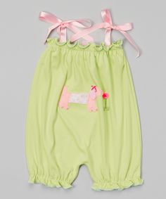 Look at this #zulilyfind! Lime & Pink Dachshund Bubble Romper - Infant & Toddler by Victoria Kids #zulilyfinds