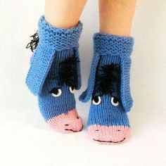 Eeyore knitted socks the donkey from Winnie the Pooh! Warm socks Eeyore knitted socks the donkey from Winnie the Pooh! Knitted Slippers, Slipper Socks, Crochet Slippers, Crochet Gifts, Crochet Baby, Knit Crochet, Knitting Socks, Baby Knitting, Knit Socks