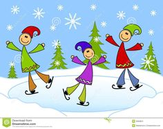 Cartoonish Kids Ice Skating On Pond Clip Art Kids Ice Skates Art