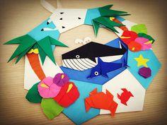 低コストで楽しめる折り紙を使った折り紙リース♪ 今回は夏の暑さを吹き飛ばす涼しげな折り紙リースの作り方と素敵な作品をご紹介いたします! Origami Wreath, Origami And Quilling, Origami Art, Origami Modular, Origami Folding, Paper Art, Paper Crafts, Wall Decor, Holiday Decor