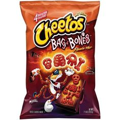 Cheetos Bag of Bones Flamin' Hot Cheese Flavored Snacks, Oz. Cheetos Cheese, Cheetos Puffs, Cheddar Cheese, Hot Snacks, Junk Food Snacks, Holiday Snacks, Halloween Snacks, Halloween Party, Cute Food