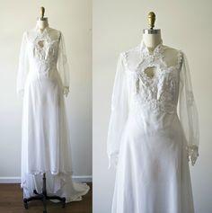 Vintage lace white bohemian wedding dress . 1970s empire waist long train 70s…