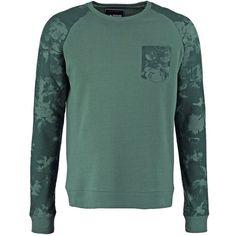 YOUR TURN Sweatshirt khaki ($33) ❤ liked on Polyvore featuring tops, hoodies, sweatshirts, men, green top, green sweatshirt and khaki top