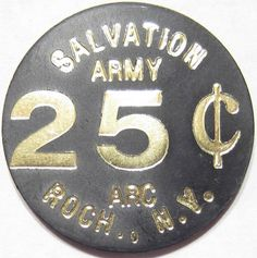 Vintage SALVATION ARMY ARC ROCHESTER, NY GOOD FOR 25c TRADE TOKEN tough to find