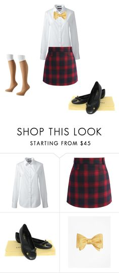 """Japanese school uniform"" by mrs-pitbull ❤ liked on Polyvore featuring Lands' End, Chicwish, Louis Vuitton, Brooks Brothers and Hanes"