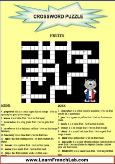 Do you fancy a French fruit vocabulary lesson with games such as crossword, flashcards, audio clips and a video? Learn French Online for Free with Games & Exercises! French Stuff, French Food, French Language Learning, Learning French, Learn French Online, French Worksheets, French Education, Core French, French Teacher