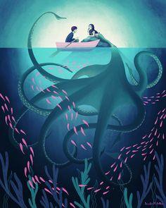 Gorgeous illustration by Jennifer M Potter! Art And Illustration, Mermaid Illustration, Fantasy Kunst, Fantasy Art, Anime Kunst, Anime Art, Anime Neko, Manga Anime, Mermaids And Mermen