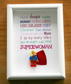 Birthday present mum sister job descriptions of a mother superwoman lego frame | eBay