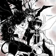 Asta e Yuno Otaku Anime, Manga Anime, Espada Anime, Clover Tattoos, Black Clover Manga, Hxh Characters, Anime Crossover, Dark Anime, Dark Fantasy Art