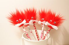 5 Valentines Party Favors Pencil Toppers Fun by FunFurFunPencils