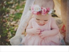 one year old session, madison sessions, outdoor sessions, hair flowers Toddler Photography, Photography Ideas, 1st Birthday Cake Smash, Hair Flowers, One Year Old, Children And Family, Future Baby, Flower Girl Dresses, Photoshoot