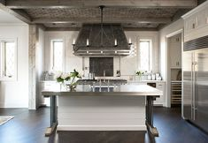 Hood and tile material Linda McDougald Design: Fantastic modern French inspired kitchen design with brick ceiling, wood beams, glossy . Old World Kitchens, Home Kitchens, Dream Kitchens, Diy Design, Design Ideas, Blog Design, Design Inspiration, Interior Inspiration, Eclectic Kitchen