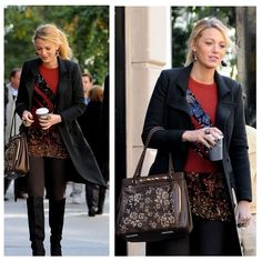 So in love with the sweater and skirt combo. Lets not forget about that amazing bag.