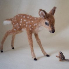 needle felted animals This sweet deer fawn is inspired by the wildlife I see in my backyard. A white-tailed deer, like Bambi. This fawn is poseable, even the tail can be posed to Needle Felted Animals, Felt Animals, Deer Tail, Baby Camel, Felted Slippers, Crocheted Slippers, 3d Figures, Needle Felting Tutorials, Felt Baby