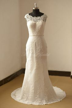 Open back Fit and flare Vintage lace Wedding by MermaidBridal