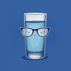 Glass on Glass Funny Illustration, Creative Pictures, Funny Puns, Cute Images, Kawaii, Fantasy Girl, Love Is Sweet, Drinking Water, Doodle Art