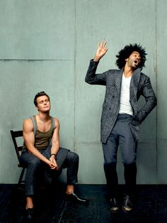 Jonathan Groff and Daveed Diggs<<< Well apparently King George III has muscles under that cape