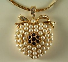 Vintage Charming Monet Pearl Heart Pendant with by ClevelandFinds