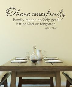 Ohana means family...  Hawaiian sayings I have to get this for the house!  love