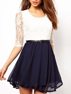 Precioso Vestido combinado encaje con cinturón-Marino&Blanco EUR€23.90 She Inside.com