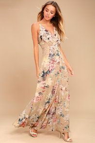 15e04d6a5ed Something Just Like This Beige Floral Print Maxi Dress