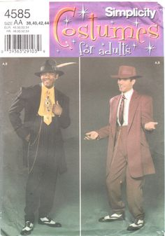 Simplicity 4585  Mens Costume Pattern Zoot Suit  Gangster Swing Adult Costume Sewing Pattern by mbchills