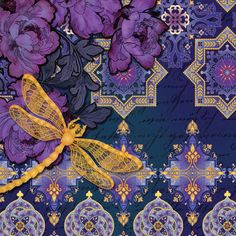Moonlight Arabesque Floral Dragonfly